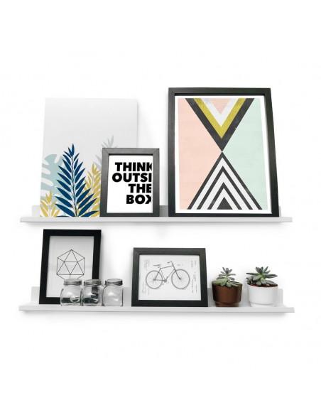par de estantes para cuadros y deco diseño moderno Muett