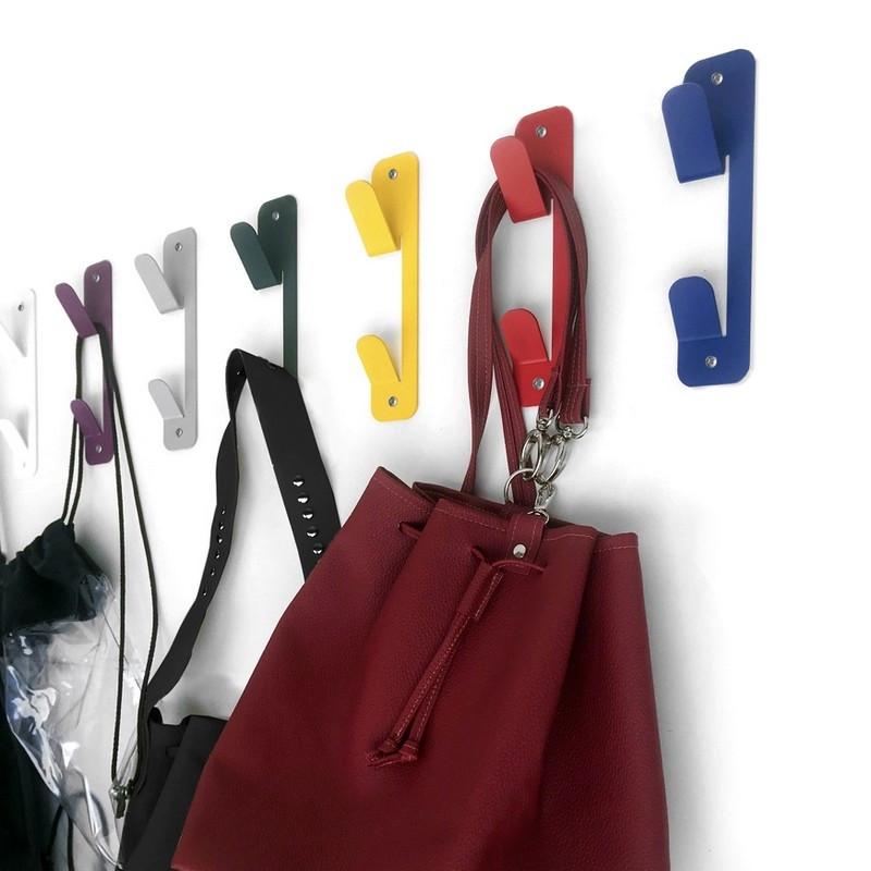 colgador de pared gancho perchero fun de colores chapa metal acerooriginales diseño muett industria argentina