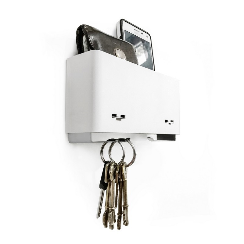 bolsillo de pared llavero porta llaves contenedor de pared organizador entrada diseño Muett colgador blanco negro