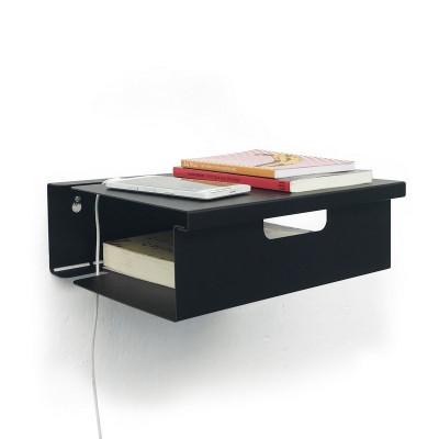 mesa de luz flotante estante de chapa repisa metalica Muett diseño