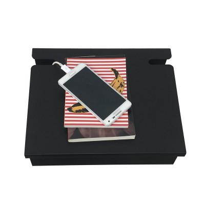 mesa de luz con pasacable diseño muett estante de chapa repisa metalca