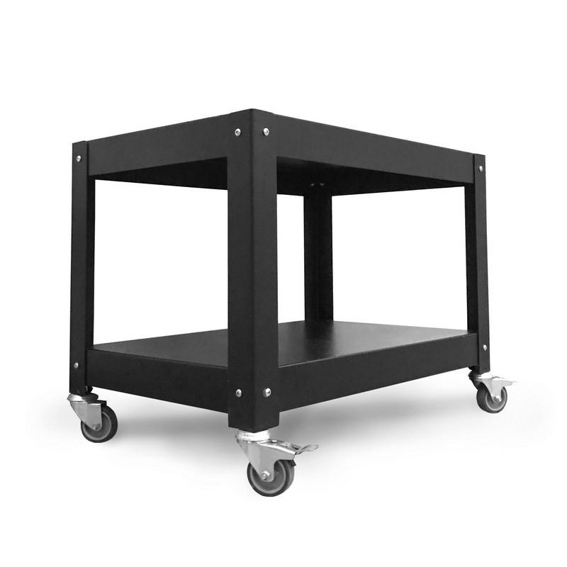 mesa auxliliar de arrime con ruedas metálica Muett diseño industria argentina blanca y negra complementaria de acero metal