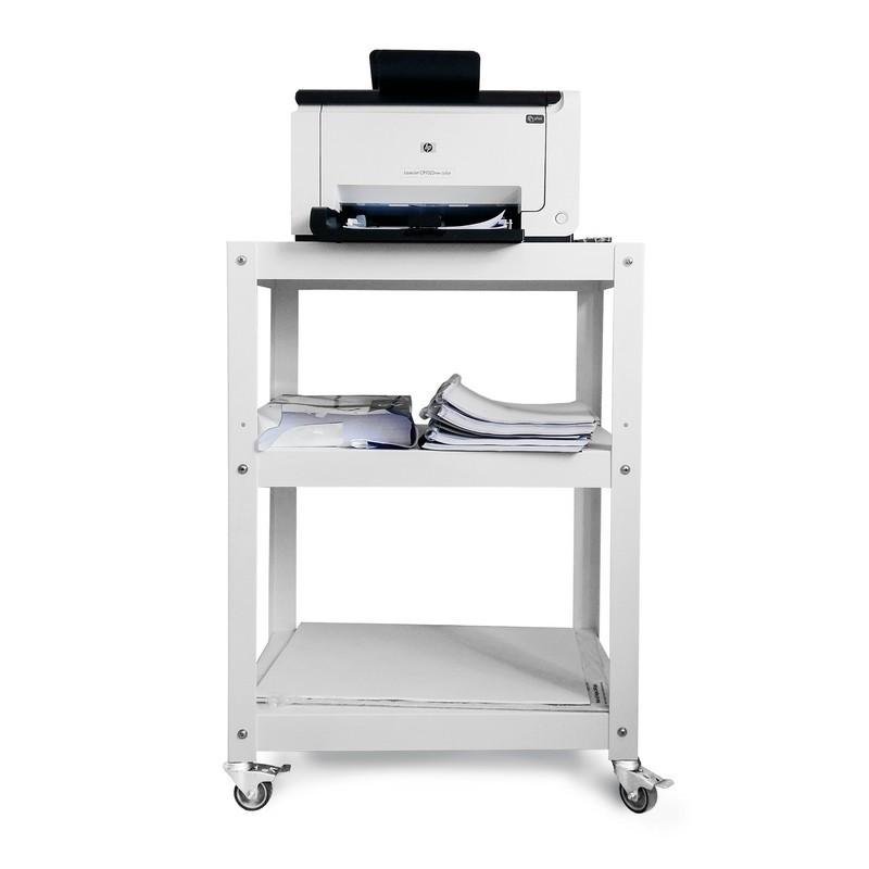 mesa auxliliar con ruedas metálica Muett diseño industria argentina blanca y negra complementaria de acero metal