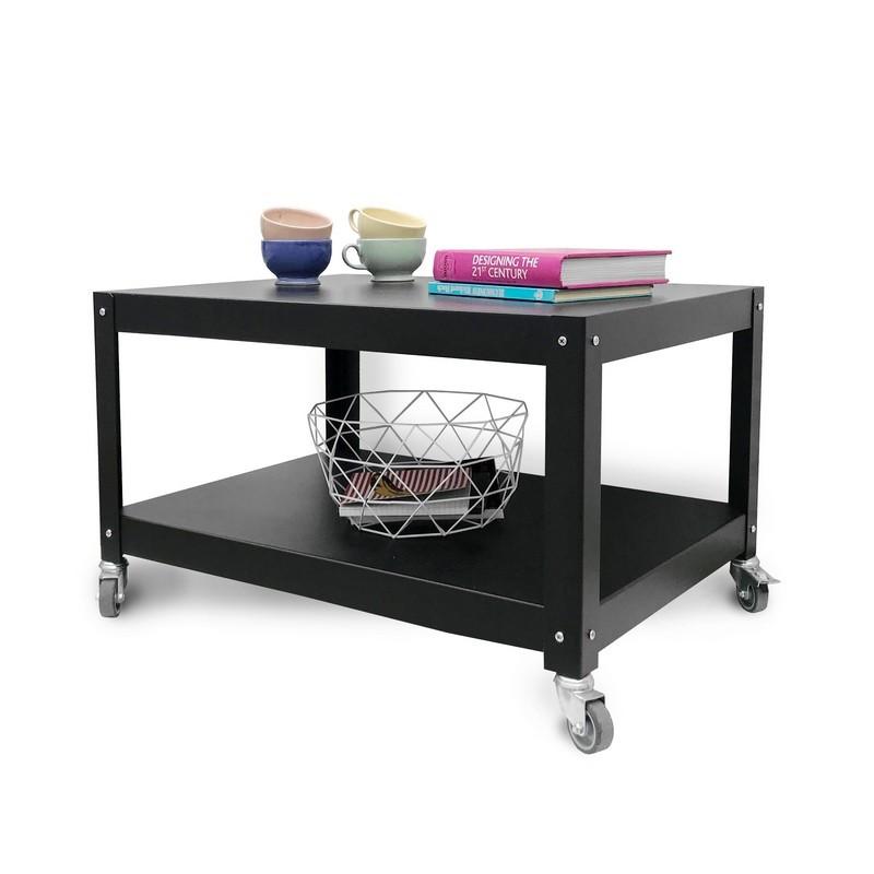 mesa de cafe diseño moderno con ruedas Muett mesa ratona negra metalica de acero de chapa