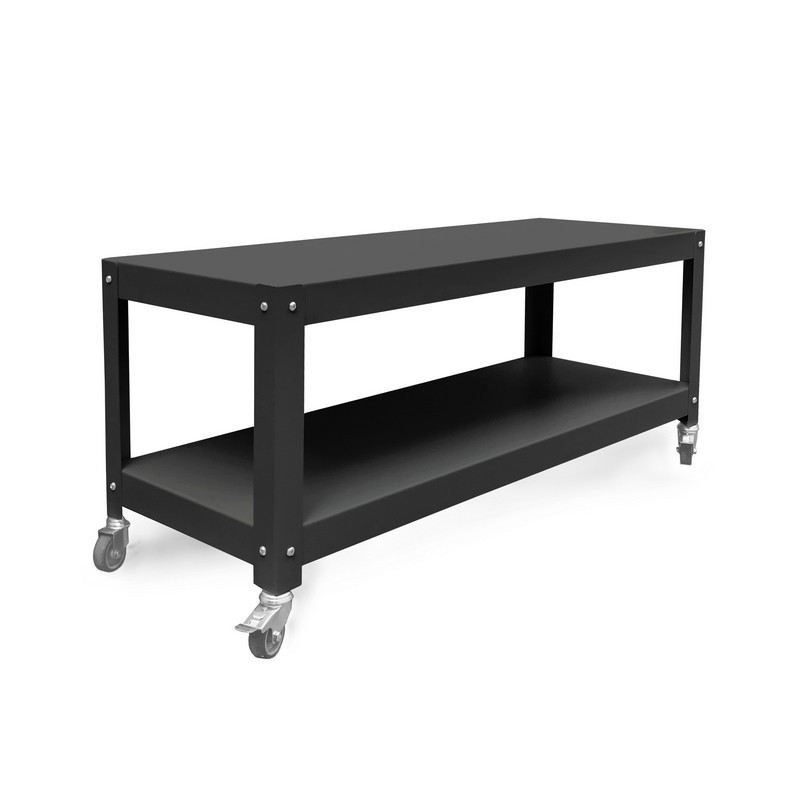 mesa de living con ruedas diseño Muett muebles metalicos mesa blanca de acero de chapa original