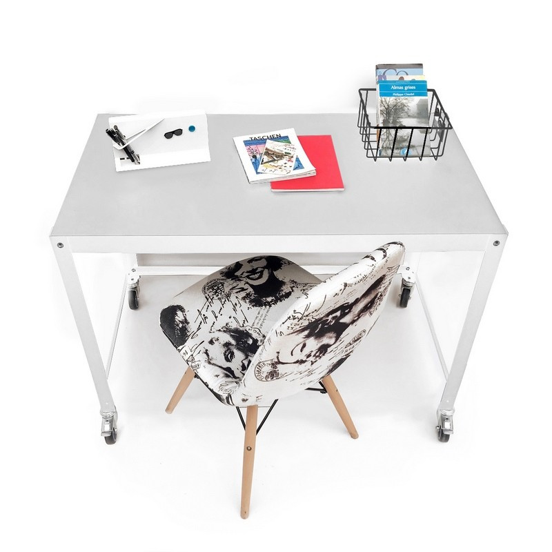 escritorio metalico con ruedas de diseño moderno Muett mesa muebles metalicos  blanca de acero de chapa original minimalista
