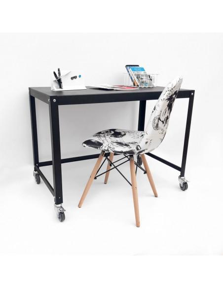mesa metalica con ruedas de diseño Muett escritorio