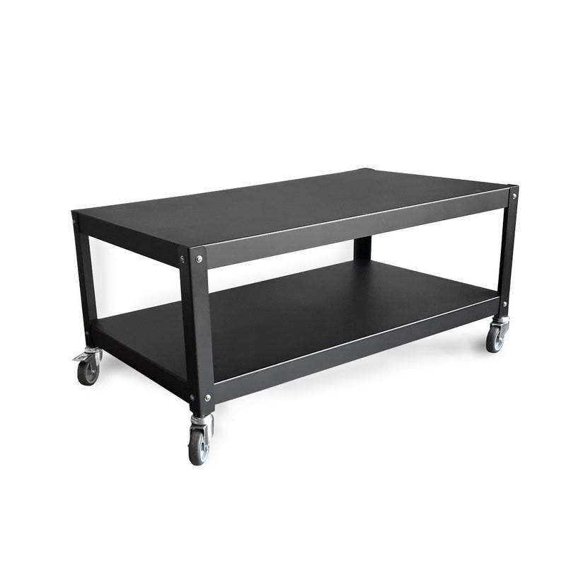 mesa ratona con ruedas de diseño Muett muebles metalicos mesa negra de chapa de acero