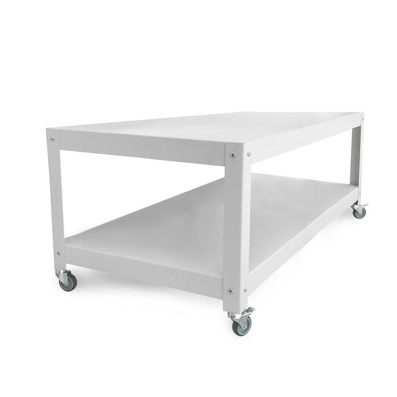 mesa ratona con ruedas de diseño Muett muebles metalicos mesa blanca de chapa de acero