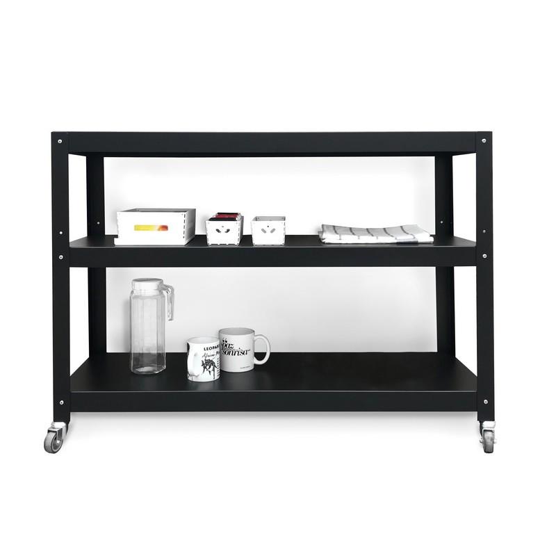 mesa de living  recibidor auxiliar con ruedas diseño Muett muebles metalicos mesa blanca de acero de chapa original minimalista