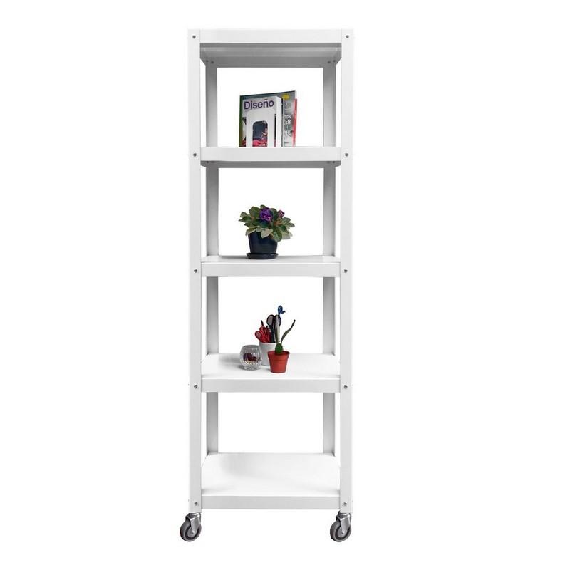 estanteria con ruedas mueble metalico minimalista de diseño moderno chapa industrial original biblioteca blanco y negro Muett