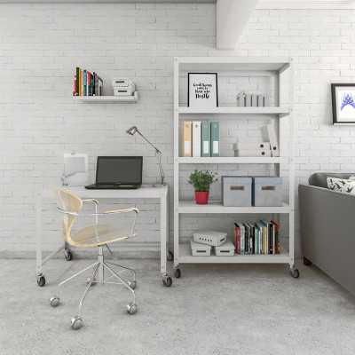 home office estanteria metalica muebles con ruedas diseño moderno minimalista Muett