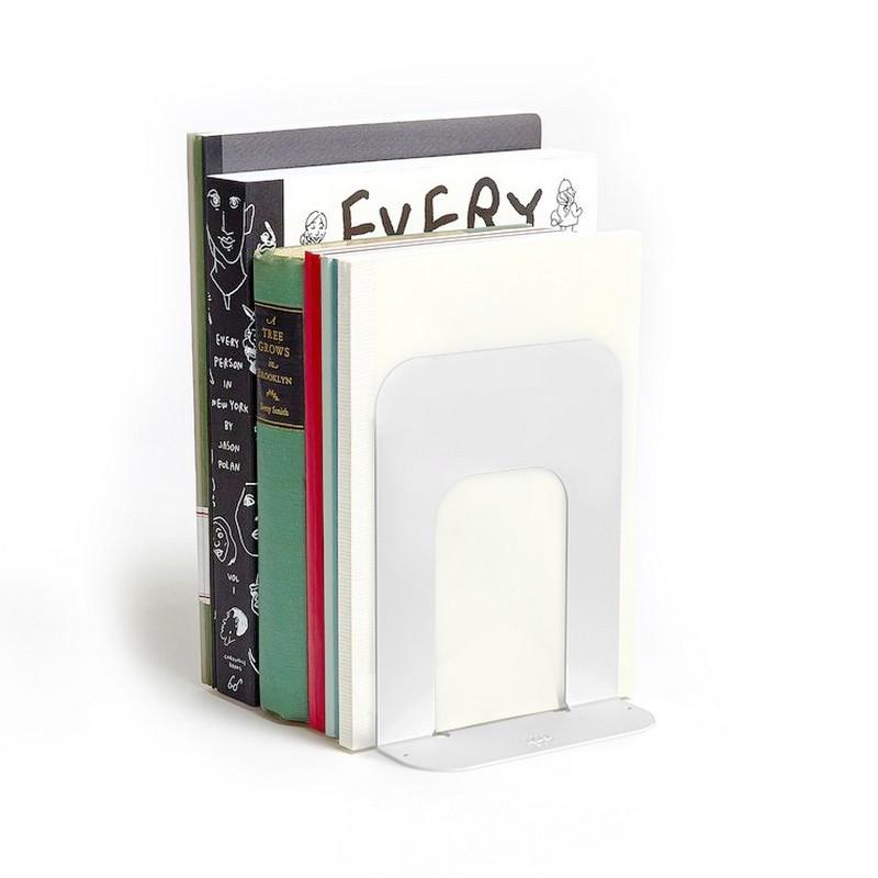 sujeta libros carpetas cuadernos soporte tope para biblioteca organizador de chapa metalico diseño original minimalista Muett