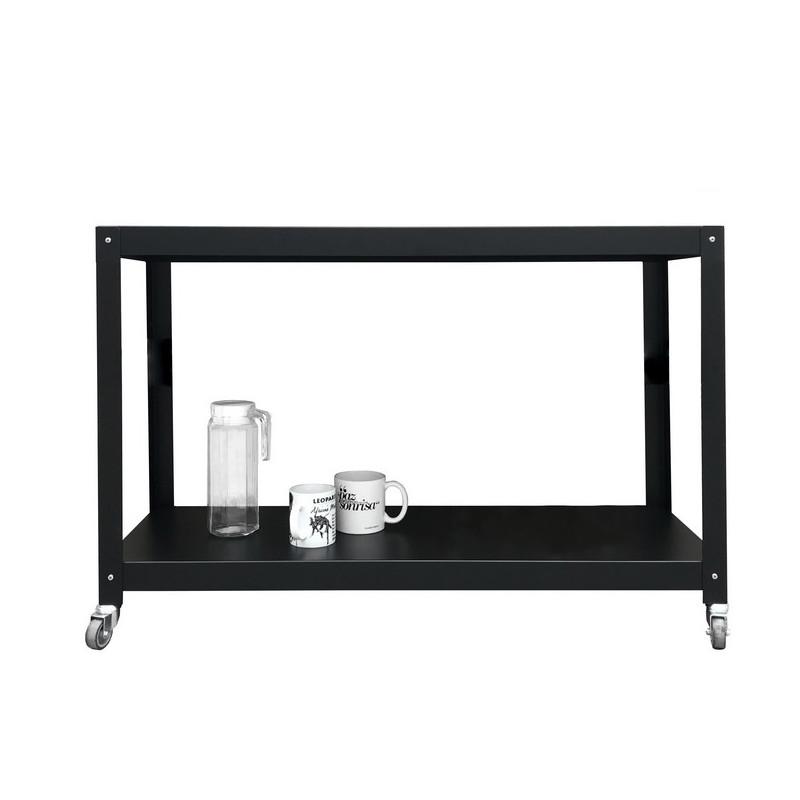 alta tv mesa auxliliar con ruedas metálica Muett diseño industria argentina blanca y negra de acero metal