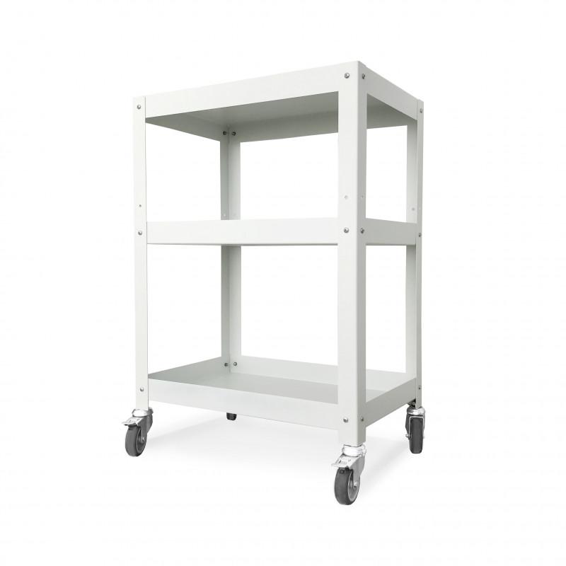 mesa auxiliar de taller con ruedas alta carga diseño Muett original industrial metalica acero industria argentina blanca negra