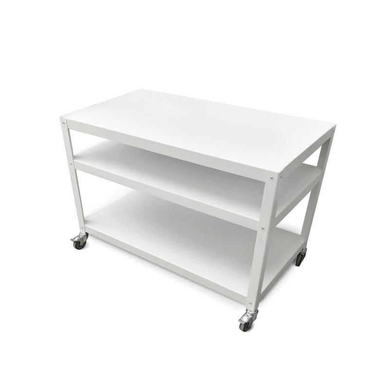 mesa grande de taller con ruedas alta carga diseño Muett original industrial metalica acero industria argentina blanca negra