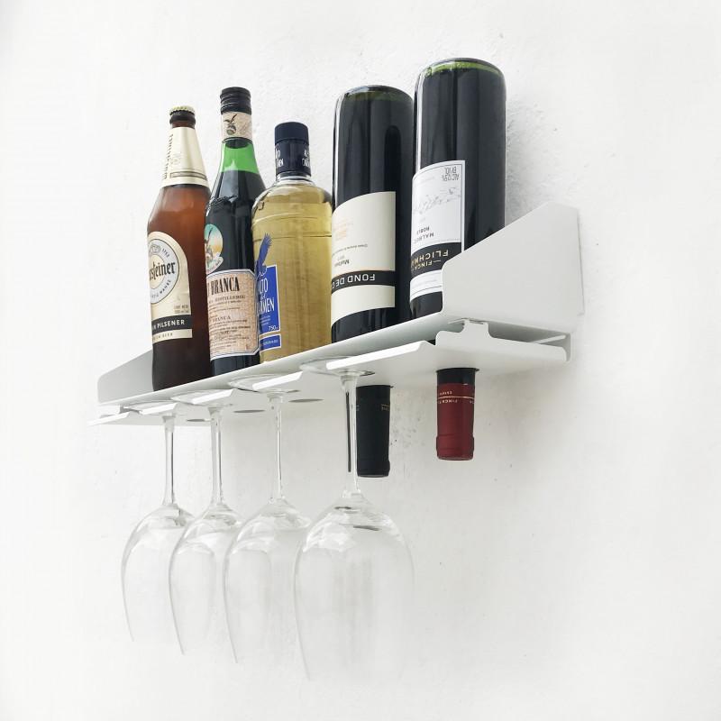 bodega de diseño Muett vinoteca de pared copero blanco y negro colgante para botellas bar original regalo industria argentina