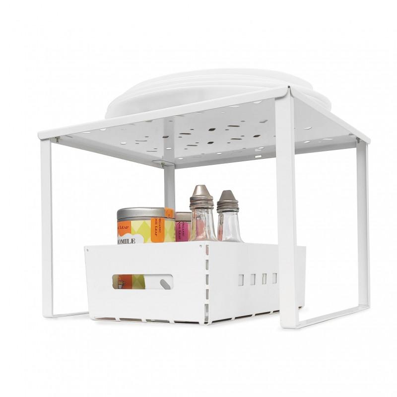 estante organizador de alacena alzada apilable diseño metálico minimalista Muett bajomesada ollas cacerolas